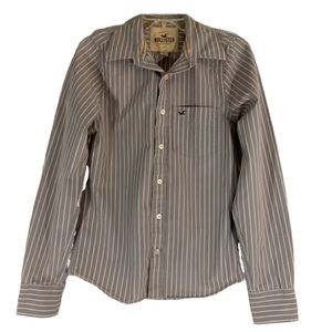 Hollister Button Down Brown Striped Long Sleeve